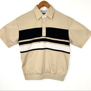 Vintage Tan and black Front Pocket Branded Polo
